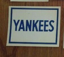 "1961 Fleer Dubble Bubble 3"" x 2 1/4"" Baseball Decal, NY YANKEES"
