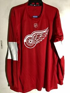 Adidas NHL JERSEY DETROIT RED WINGS JERSEY Red Long Sleeve sz LARGE