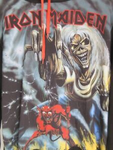Iron Maiden Mens Jumper Sweater Size 2XL Pullover All Over Graphic Hoodie 2016