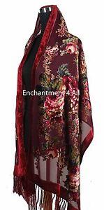Elegant 100% Silk Burnout Velvet Vintage Floral Oblong Scarf Shawl Wrap,Burgundy