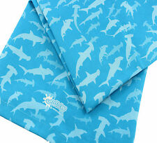 Tea Towel Blue Contemporary Pattern Hammerhead Sharks 100% Cotton UK Made