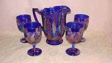 Westmoreland Glass Highhob  Blue Carnival Pitcher & 4 Stemmed Goblets Tumblers