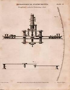1813 DATED PRINT ASTRONOMICAL INSTRUMENTS ~ TROUGHTON'S METHOD GRADUATING CIRCLE
