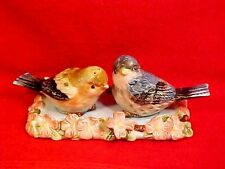 Fabulous Vintage Majolica Birds and Flowers 3 Piece Salt & Pepper Shakers, fm796