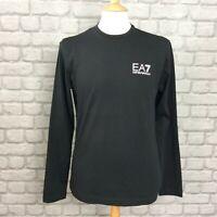 EA7 EMPORIO ARMANI MENS UK M BLACK CORE ID LONG SLEEVE LOGO TEE DESIGNER AUTUMN