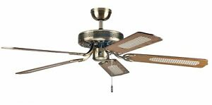 Traditional Ceiling Fan with Pull Switch Paloma Plus Brass Antique 132 CM