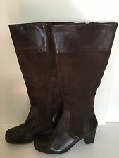 NEW CLARKS DREAM REGAL Brown 37629 LONG BOOTS WOMENS 9M LEATHER ZIP SIDE SUEDE