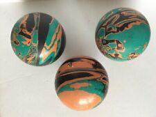 Lot of 3 Vintage Ebonite Tornado 1970's BLK/ORG/GRN Swirl Duckpin Bowling Balls