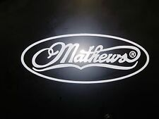 Mathews decal white 10 inches wide