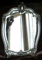 Grand miroir de table argent massif Minerve sur fond bois - Belle époque
