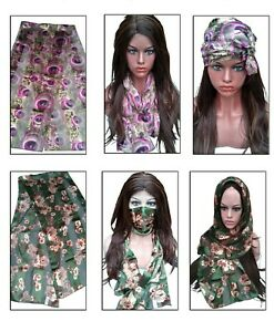 Designer Chiffon Silk Satin Long Scarves Head Scarf Neck Shawl Hijab Hair Cover