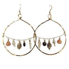 Hawaiian 14K Gold Hoop Earrings Pink Briolette Gemstone White Coral Branch Pearl
