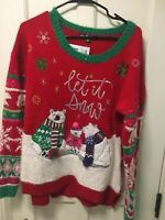 UNITED STATES SWEATER UGLY CHRISTMAS SWEATER WOMEN'S LET SNOW POLAR BEARS