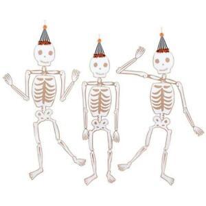 MERI MERI HALLOWEEN Giant Vintage Jointed Skeleton Decorations (3 Pack)