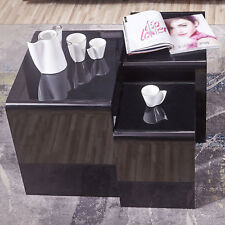 High Gloss Black Nest of 3 Coffee Tables + Black Glass Top MDF Unit Living Room