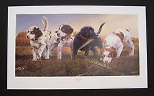 """Phillip Crowe Signed Limited Edition Print """"Training Camp"""" Lab Spaniel Puppy Dog"""