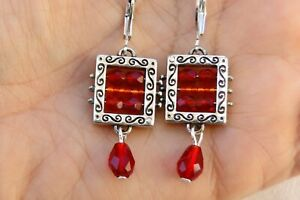 Altered Brighton Bedazzle Silver Etched & Red Crystal On Lever Back Earrings