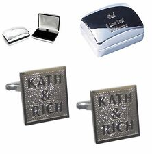 Personalised Cufflinks + Personalised Chrome Case. Birthday Wedding Christmas