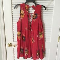 NWT Simida Star Sleeveless Red Floral Bohemian Dress Women's Size Large