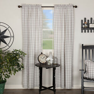 VHC Annie Buffalo Grey Check Farmhouse Lined Cotton Country Cottage Panels