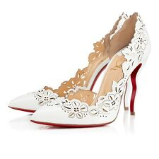 NEW Christian Louboutin Beloved 120mm White Patent Bridal Wedding Shoes 40.5