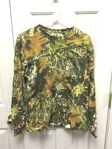 Ladies Sz M Russell Outdoors Explorer Pocket Tee Camo 100% Cotton Long Sleeve