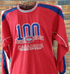 MONTREAL CANADIENS 100 SEASONS YEARS JERSEY SHIRT Med NHL HOCKEY SEWN LOGO 2008