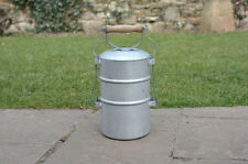 Vintage old alumium pot with lid food flask container -  FREE POSTAGE