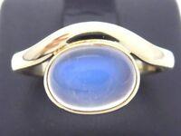 Goldring Ring 585 GOLD 14 Karat Mondstein moon stone Art Deco anello anillo 14kt