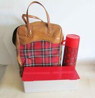 Vintage King-Seeley Red Plaid Bag Quart Metal Thermos Picnic Set 1970s FREE SH