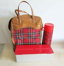 Vintage King-Seeley Red Plaid Bag Quart Metal Thermos Picnic Set 1970s FREE SH