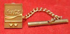"COCA-COLA - 10K GOLD SERVICE AWARD TIE TACK PIN ""2 Stars"" - Nice"