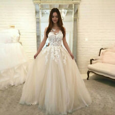 Women Ladies Floral Lace Wedding Chiffon V Neck Evening Party Dress Ball Gown CA
