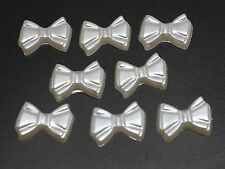 200 Pure White Acrylic Pearl Flatback Bows BowKnot Cabochon 12mm Scrapbook Craft