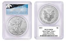 2021 $1 1 OZ Silver Eagle MS70 PCGS Type 1 FDOI Thomas Cleveland Blue Eagle