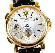 Ulysse Nardin 246-55 Dual Time GMT Big Date 18k Rose Gold Black Strap 42mm Watch