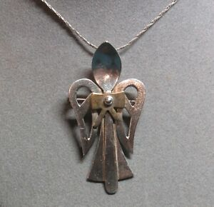 "Designer SPOON ANGEL Sterling Silver 18"" Pendant Necklace Pin Brooch 17.8 Grams"
