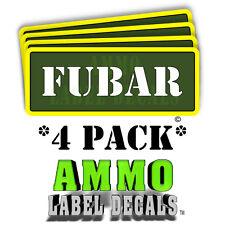 "FUBAR Ammo Label Decals Ammunition Case 3"" x 1"" Can stickers 4 PACK -YWagRD"