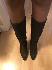 Next khaki Suede Calf Boots Size 8