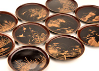Antique Japanese Lacquer Makie Plate Tray Set of 10 Meiji Period