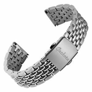 Geckota® Classic Beads of Rice Premium Metal Bracelet Watch Strap