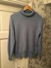 Marks And Spencer Womens Pale Blue Roll Neck Jumper Size 16 100% Cashmere