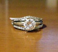 NEW Solitaire Enhancer Diamonds Ring Guard Wrap Wedding Band 14K Yellow Gold Fn