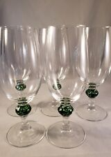 Wine, Water or Iced Tea Glass Clear with Green Marbled Art Glass Center Set of 5