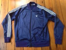 """Vtg Zwickel Blue Polyester Track Athletic Jogging Jacket USA Made XL Tall 54"""""""