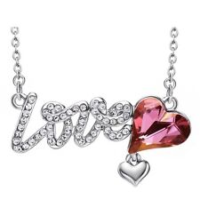 New Purple Pink Austria Crystal Clear White Rhinestone Love Heart Chain Necklace
