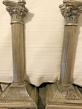 Set x2 Square Pillar Style Silver Ornate Metal Candle Sticks Holders Global Ship