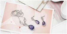 Platinum Plated Purple Silver Earrings & Necklace Set W/Swiss Cubic Zirconia
