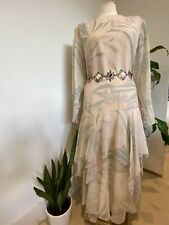 Rare Gina Bacconi Designer Vintage Dress Pastel Boho Wedding Drag Floral UK18 XL