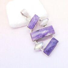 Charoit Mondstein weiß blau lila eckig Design Anhänger 925 Sterling Silber neu